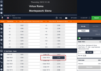 Montepaschi Siena @ Pinnacle Bookmaker