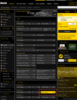 SP Covilha @ BWin Bookmaker