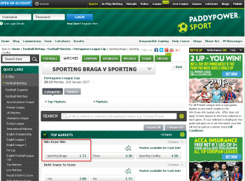 Sporting Braga @ PaddyPower Bookmaker