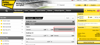 Germany @ Interwetten Bookmaker