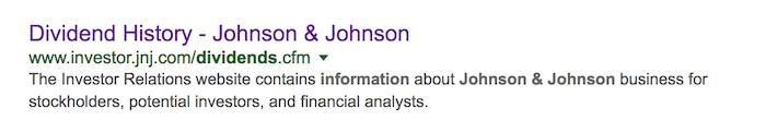 Johnson & Johnson Dividend Information