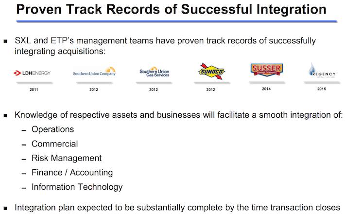 Sunoco Track Record of Successful Integration