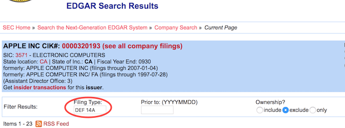 EDGAR Search Results DEF 14A Apple