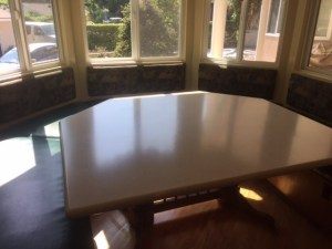 corian table top, corian beige fieldstone, dining room solid surface table, matte finish, satin finish, countertop finishes, countertop resurfaces, countertop buff, sand corian, corian scratch removal, corian countertop scratches, countertop refinish, solid surface refinish, countertop scratch remover, how to remove corian scratches, refinish, repair, surface link, solid surface, discoloration, countertop repair, countertop refinish