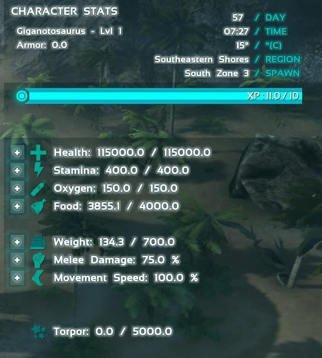 Level 1 Giganotosaurus Stats
