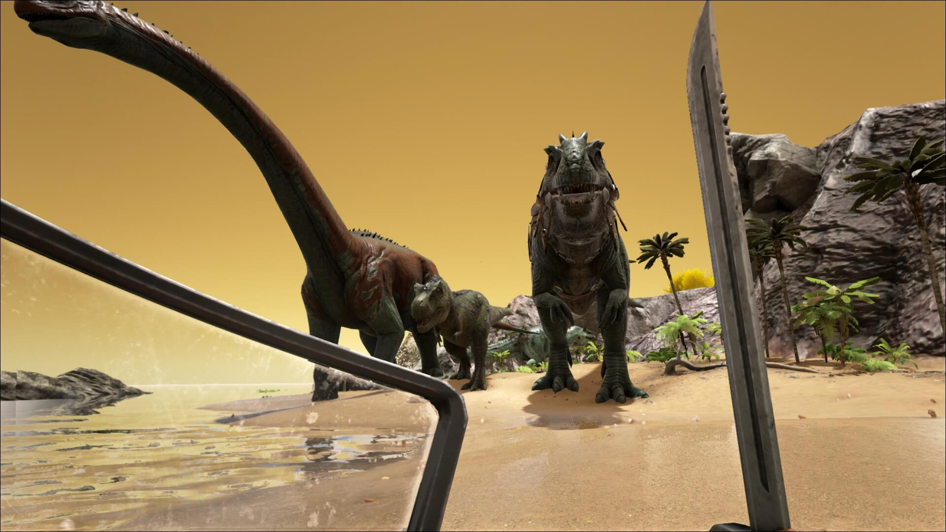 Patch v222 whats new survive ark sideview of knocked out giganoto size comparison say hello to little rex malvernweather