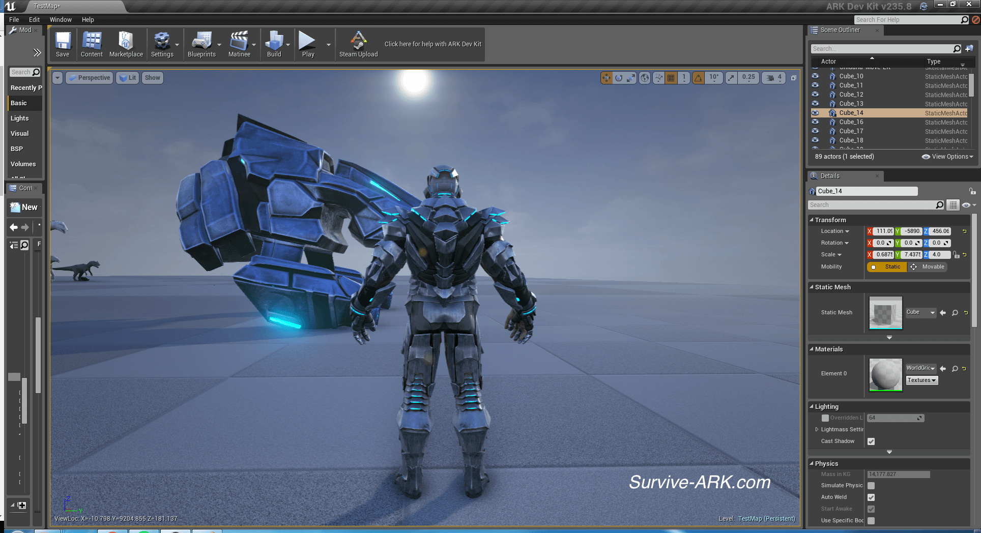 Devkit preview tek tier armor giga laser and tek grenade survive ark male tek armor back malvernweather Gallery