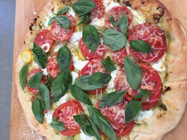 pizza with basil