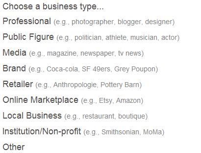 Pinterest - Tipo do Negócio