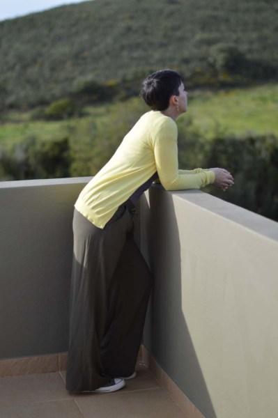 Khaki wide legged pants10