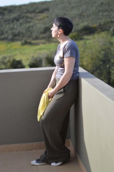Khaki wide legged pants7