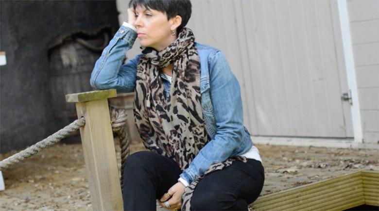 Denim jacket, black trousers and animal print7