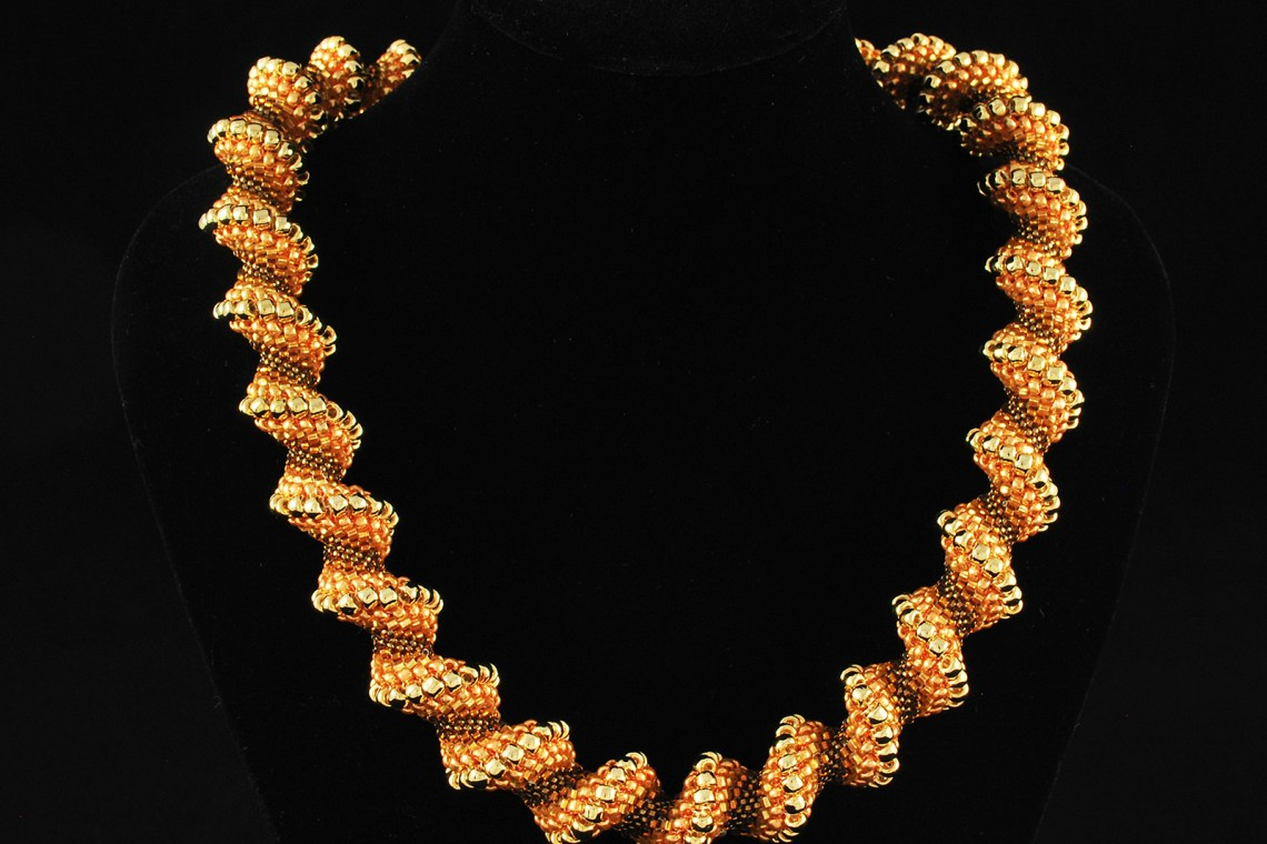 Gold Tone Spiral Necklace