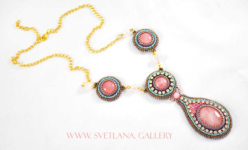 Spring Necklace With Rose Quartz - www.Svetlana.Gallery
