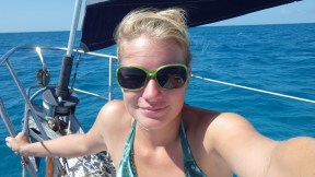 On the bow headed to Hawksbill Cay
