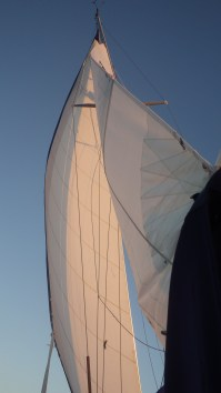 Sails sheeted in tight