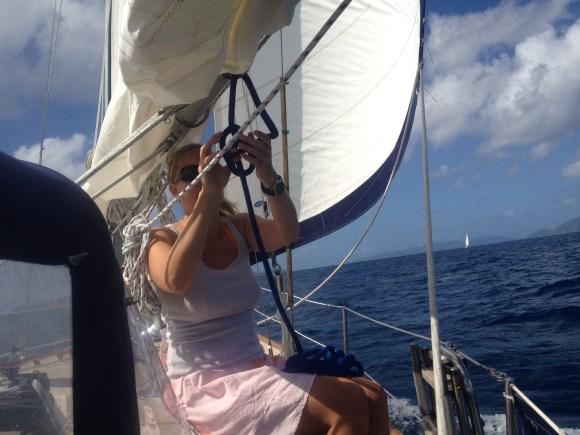 Gillian rigging a preventer for the run down the channel