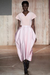 Roksanda Ilincic put pink on the map much like Simone Rocha but with a softer touch. The fabrics at play in this look exude a pale pink rose that on an early fall day is sure to turn heads no matter where she's going. Photo: Filippo Fior / InDigitalteam / GoRunway.com