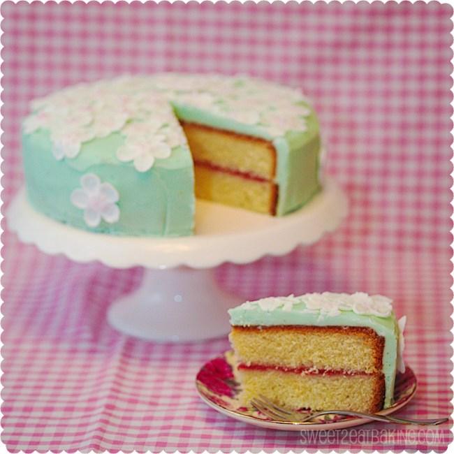 Spring blossom sponge cake