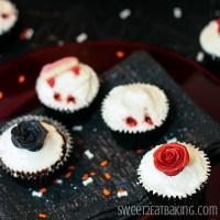 Gothic Rose Vampire Bite Halloween Cupcakes