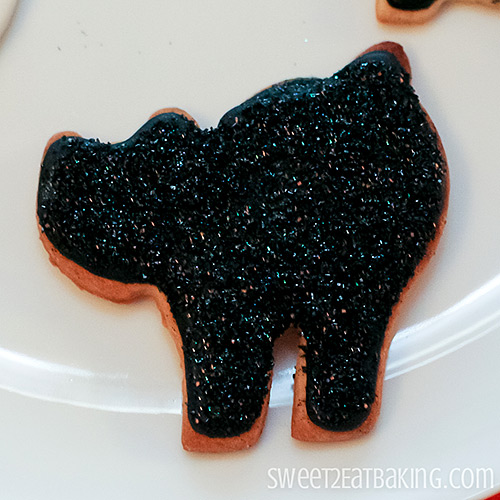 Halloween Cookies - Glitter Sparkly Black Cat