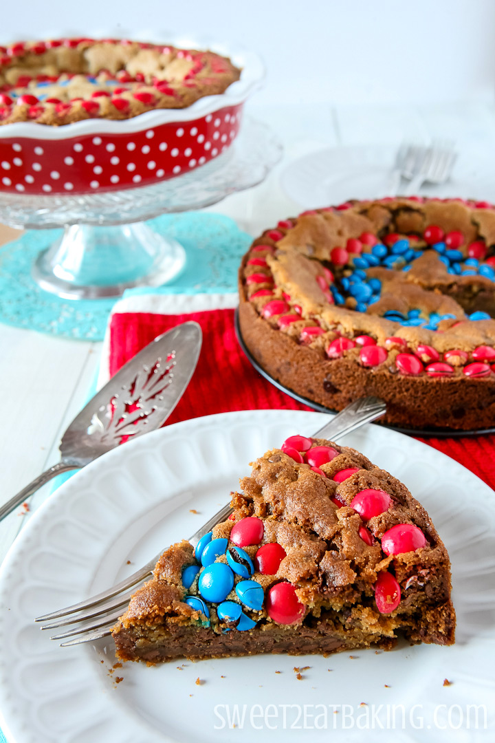 Captain America M&Ms Chocolate Chip Cookie Cake by Sweet2EatBaking.com | #m&ms #cookie #cake #recipe #dessert #baking