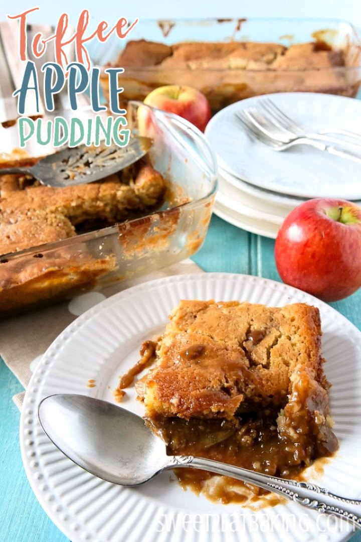 Toffee Apple Pudding Recipe by Sweet2EatBaking.com | #toffee #caramel #apple #pudding