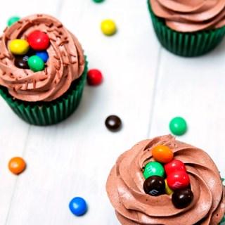 Crispy M&M's Chocolate Cupcakes by Sweet2EatBaking.com