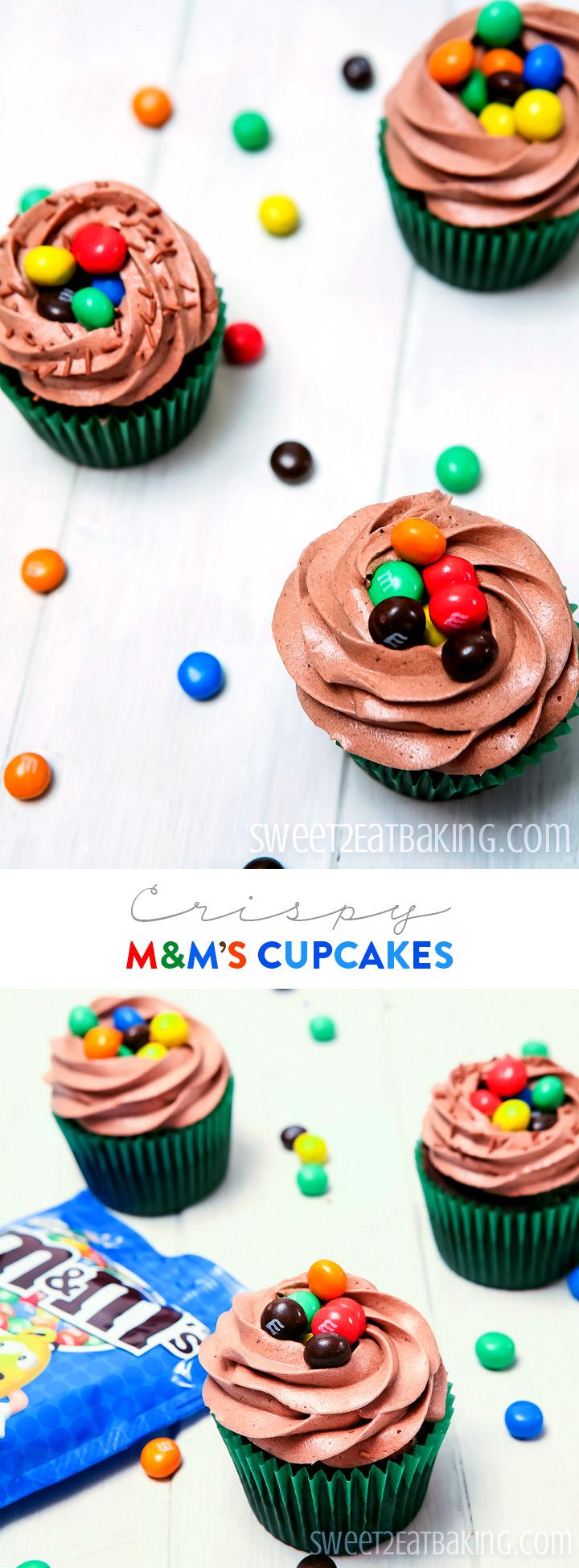 Crispy M&M's Cupcakes Recipe by Sweet2EatBaking.com