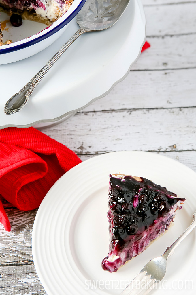 Delicious Blueberry Cream Cheese Pie by Sweet2EatBaking.com