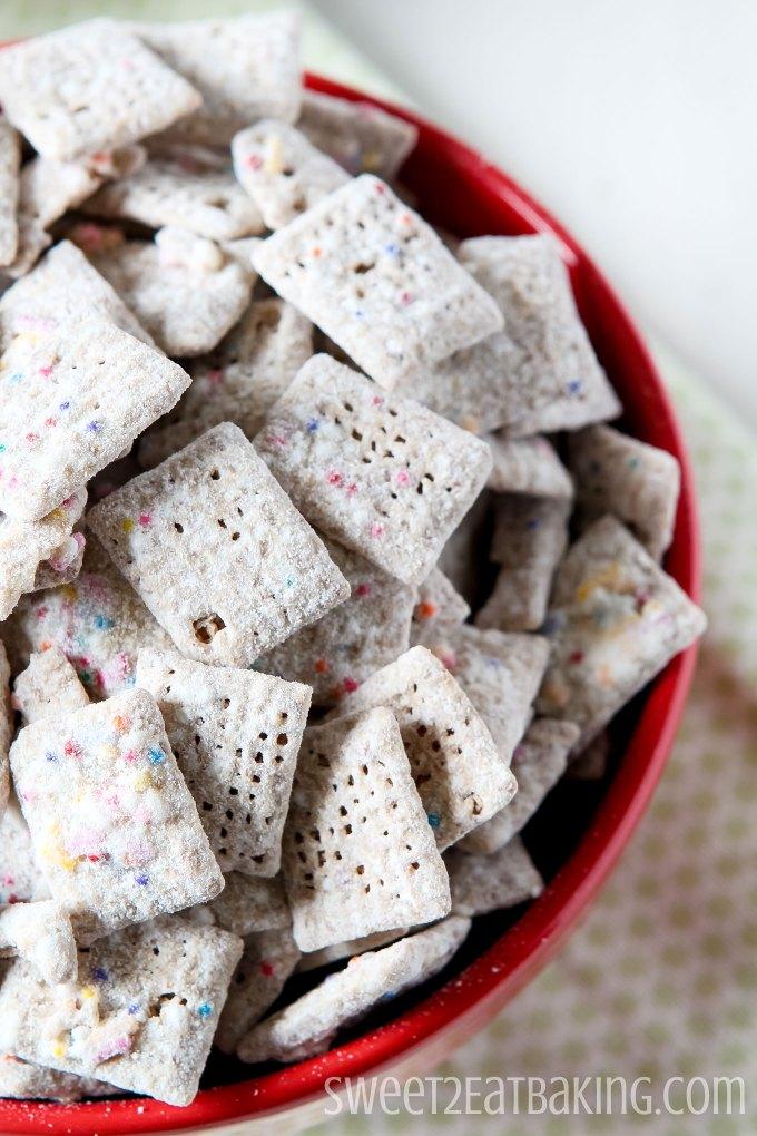 Funfetti Cake Batter Muddy Buddies Recipe by Sweet2EatBaking.com