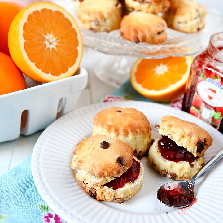 Orange and Chocolate Chip Scones by Sweet2EatBaking.com