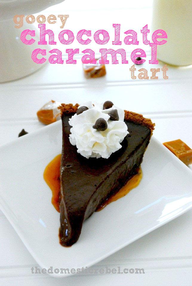 Gooey Chocolate Caramel Tart on Sweet2EatBaking.com