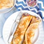 Funfetti Cake Batter Crêpes (European Pancakes) Recipe by Sweet2EatBaking.com