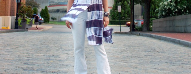 white flare jeans look