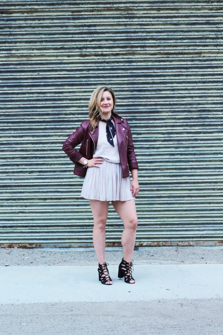 Leather for Spring: Burgundy Leather Jacket + Soft Pink Romper