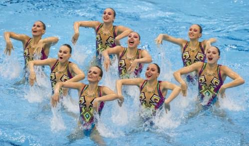 Team RUSSIA gold medal London, Queen Elizabeth II Olympic Park Pool LEN 2016 European Aquatics Elite Championships Synchro Team technical final Day 01 09-05-2016 Photo Giorgio Perottino/Deepbluemedia/Insidefoto