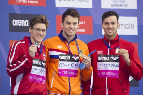 Podium VERSCHUREN Sebastiaan NED Gold medal, STJEPANOVIC Velimir SRB silver medal, GUY James GBR bronze medal London, Queen Elizabeth II Olympic Park Pool LEN 2016 European Aquatics Elite Championships Swimming Men's 200m freestyle final Day 10 18-05-2016 Photo Giorgio Perottino/Deepbluemedia/Insidefoto