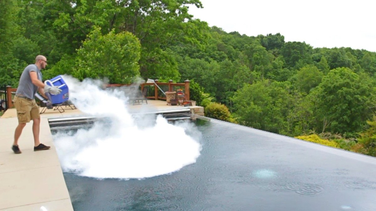 What Happens When 30 Pounds of Dry Ice Is Dumped Into a Swimming Pool