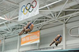 KNOXVILLE, TN - August 5, 2014: Synchro Howell/Kraeger during the 2014 USA Diving Age Group and Junior National Event at Allan Jones Aquatic Center in Knoxville, TN. Photo By Matthew S. DeMaria