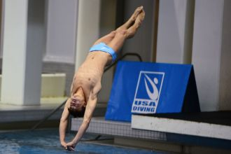 KNOXVILLE, TN - July 31, 2014: Andrew Kreiter dives of the Platforms during the 2014 USA Diving Age Group and Junior National Event at Allan Jones Aquatic Center in Knoxville, TN. Photo By Matthew S. DeMaria