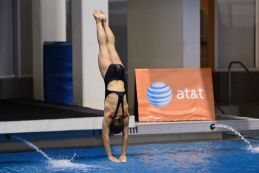 KNOXVILLE, TN - July 31, 2014: Emily Bretscher dives from the platforms during the 2014 USA Diving Age Group and Junior National Event at Allan Jones Aquatic Center in Knoxville, TN. Photo By Matthew S. DeMaria