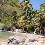 Vår og alle Guadaloupes dagturisters intime strand ved Pain de Sucre