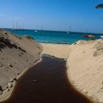 Kontraster. Det brune vannet er fra saltvannsinnsjøen som ligger bak fotografen. Disse saltutvinningsdammene har vært veldig viktige for øyas tidlige etablering.