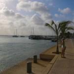 Strandpromenaden med båtene parkert pyntelig på utsiden.