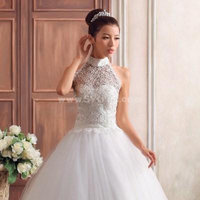 Korean Style Applique Bead Halter Princess Bridal Gown ...