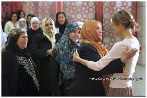 Asmaa Bashar Al Assad at the reception titled With Your Soul You Protect the Jasmine