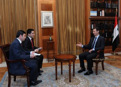 Syrian president Bashar Al Assad in an interview with Turkish media