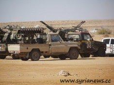 flatbed vehicle with machine gun