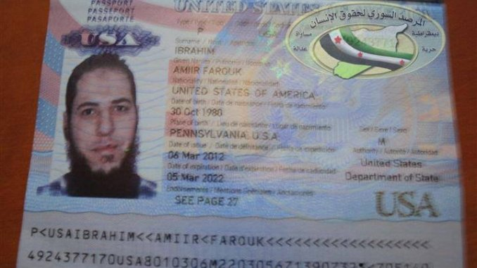 American passport of Amiir Farouk Ibrahim